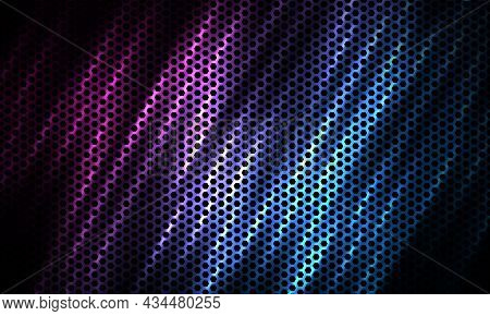 Dark Hexagon Tech Colorful Sport Background With Carbon Fiber. Technology Honeycomb Abstract Vector