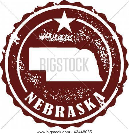 Vintage Style Nebraska USA State Stamp