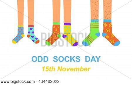 Odd Socks Day Anti Bullying Week Banner. Man, Woman, And Children Feet In Different Colorful Crazy S