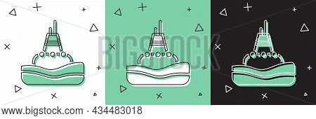 Set Floating Buoy On The Sea Icon Isolated On White And Green, Black Background. Vector