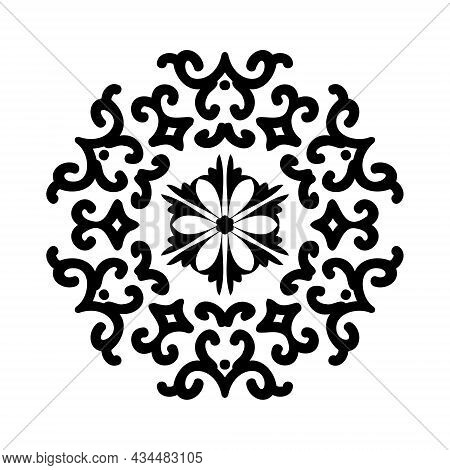 Black Abstract Circular Ornament Isolated On White Background. Mandala Circular Ornament. Oriental P