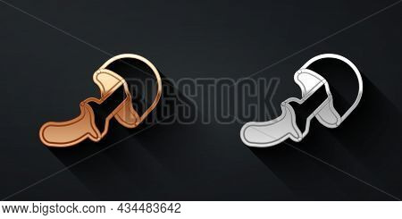 Gold And Silver Psilocybin Mushroom Icon Isolated On Black Background. Psychedelic Hallucination. Lo