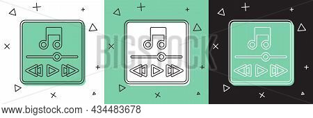 Set Music Player Icon Isolated On White And Green, Black Background. Portable Music Device. Vector