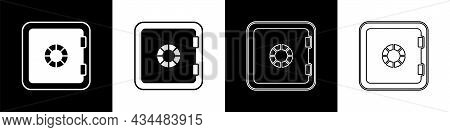 Set Safe Icon Isolated On Black And White Background. The Door Safe A Bank Vault With A Combination
