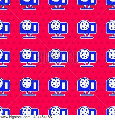 Blue Genetic Engineering Modification On Laptop Icon Isolated Seamless Pattern On Red Background. Dn