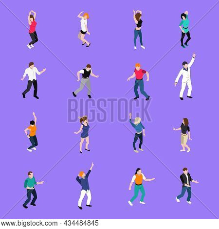 Moving To The Beat In Dance Club People   Isometric Icons Collection With Purple Background Isolated