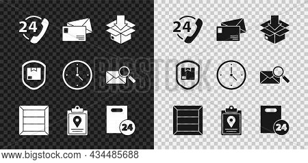 Set Telephone 24 Hours Support, Envelope, Cardboard Box With Traffic Symbol, Wooden, Document Tracki