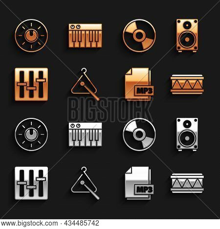 Set Triangle Musical Instrument, Stereo Speaker, Drum, Mp3 File Document, Sound Mixer Controller, Cd