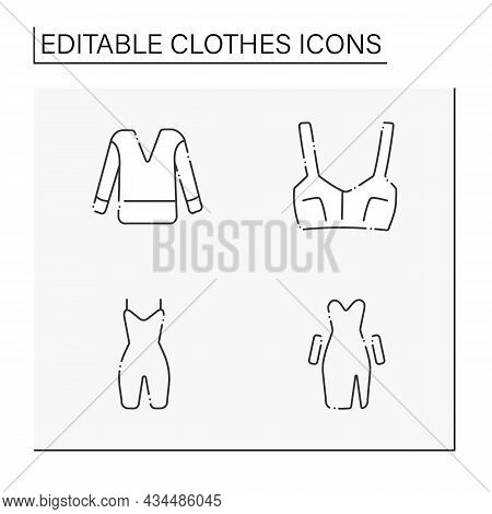 Clothes Line Icons Set. Trendy Outfits. Jumper, Top, Stretchy Shapewear, Going-out Dress. Fashionabl