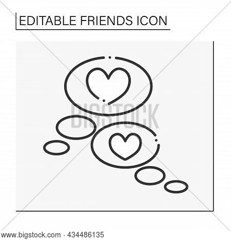 Mutual Understanding Line Icon. Sympathy. Communication. Exchanging Love And Support. Soulmates. Hea