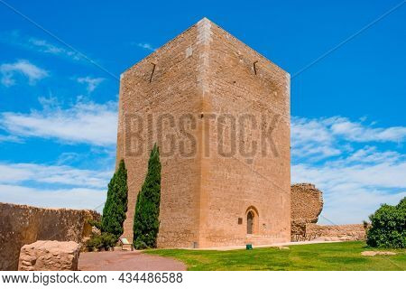 a view of the Torre del Espolon tower in the Castle of Lorca, in Lorca, Murcia, Spain