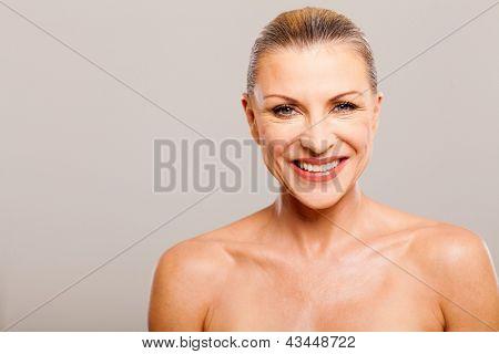 beautiful senior woman wearing make up