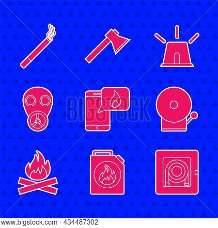 Set Phone With Emergency Call 911, Canister For Flammable Liquids, Fire Hose Cabinet, Ringing Alarm
