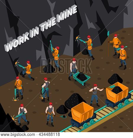 Coal Industry Isometric Composition With Miner People Working In Mine Vector Illustration