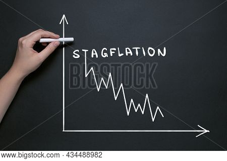 Stagflation Garfik, Hand Draws On The Blackboard With Chalk, The Word Stagflation, Market Fall And I