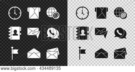 Set Clock, Envelope, Earth Globe With Mail, Location Marker, Address Book And Icon. Vector
