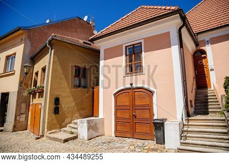 Trebic, Bohemia, Czech Republic, 06 July 2021: Narrow Picturesque Street With Colorful Buildings In
