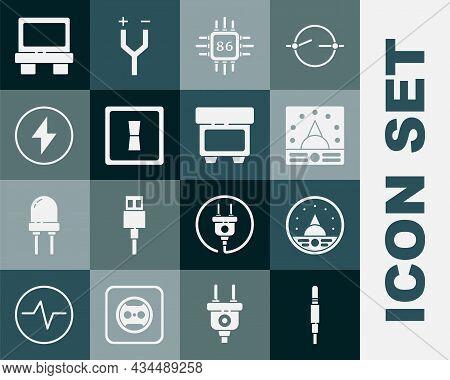 Set Audio Jack, Ampere Meter, Multimeter, Voltmeter, Processor With Microcircuits Cpu, Electric Ligh