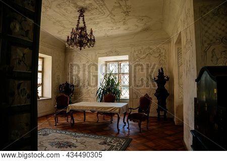 Jaromerice Nad Rokytnou, Bohemia, Czech Republic, 06 July 2021: Castle Interior With Baroque Wooden
