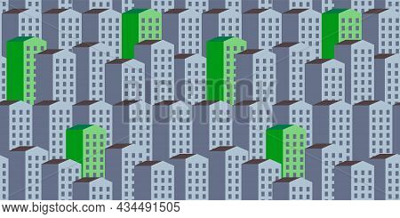Vector Seamless Pattern With Gray And Green Houses. Property Background. Modern Buildings. Eco-frien