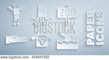Set Sheep Head, Zoo Park, Crocodile, Whale Tail In Ocean Wave, Octopus And Giraffe Icon. Vector