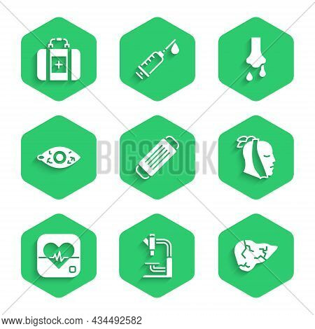 Set Medical Protective Mask, Microscope, Hepatitis Virus, Toothache, Heart Rate, Reddish Eye, Runny