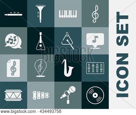 Set Vinyl Disk, Sound Mixer Controller, Music Note, Tone, Synthesizer, Guitar, Drum And Drum Sticks