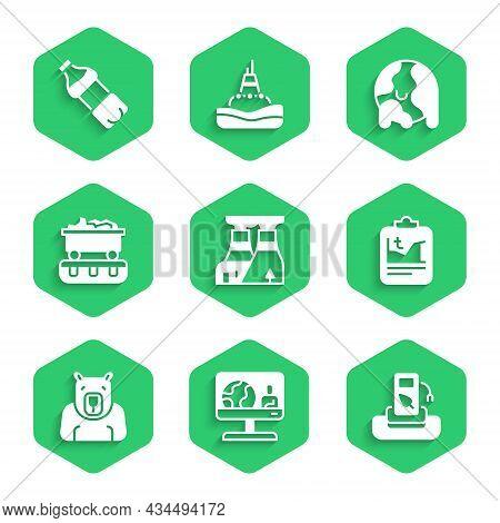 Set Nuclear Power Plant, Weather Forecast, Petrol Gas Station, Global Warming, Polar Bear Head, Coal
