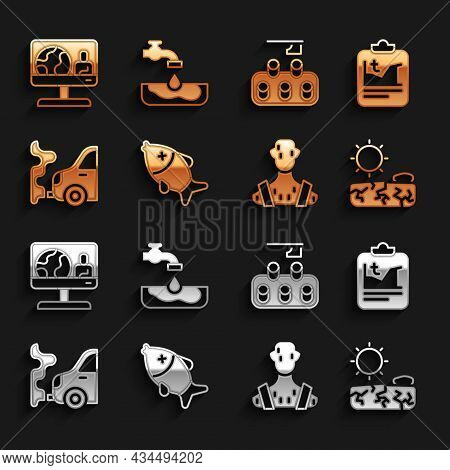 Set Dead Fish, Global Warming, Drought, High Human Body Temperature, Car Exhaust, Deforestation, Wea