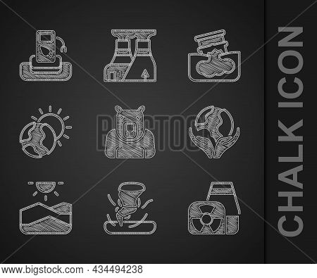 Set Polar Bear Head, Tornado, Nuclear Power Plant, Hand Holding Earth Globe, Drought, Global Warming