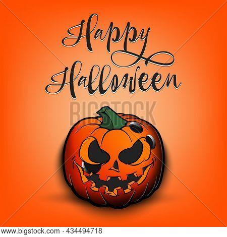 Happy Halloween. Bowlitg Ball As Pumpkin