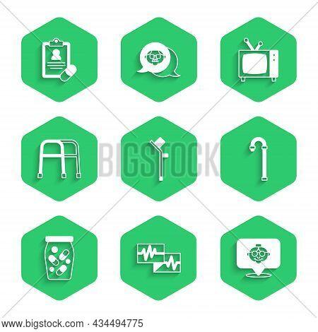 Set Crutch Or Crutches, Monitor With Cardiogram, Grandmother, Walking Stick Cane, Medicine Bottle Pi