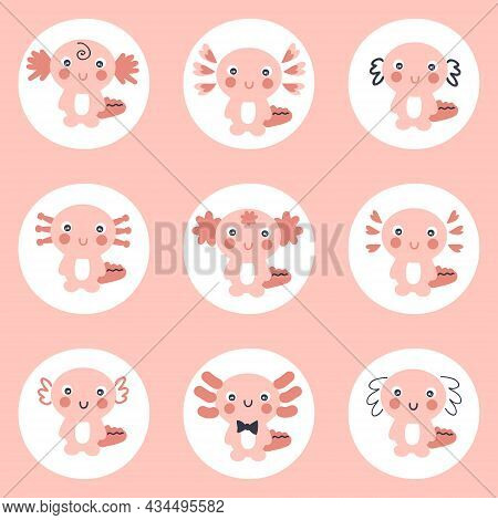 Hand Drawn Axolotls Stickers Collection. Perfect For Instagram Story Highlight. Cartoon Style Vector