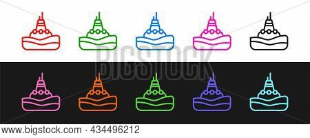 Set Line Floating Buoy On The Sea Icon Isolated On Black And White Background. Vector