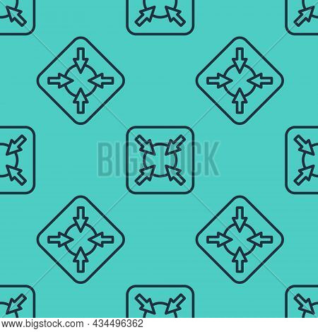 Black Line Target Financial Goal Concept Icon Isolated Seamless Pattern On Green Background. Symboli