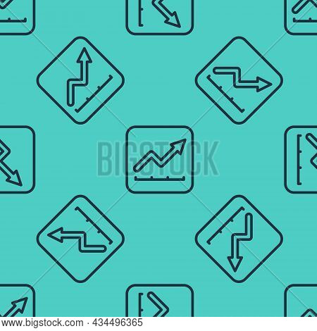 Black Line Financial Growth Increase Icon Isolated Seamless Pattern On Green Background. Increasing