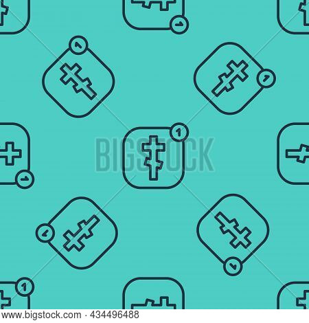 Black Line Online Church Pastor Preaching Video Streaming Icon Isolated Seamless Pattern On Green Ba