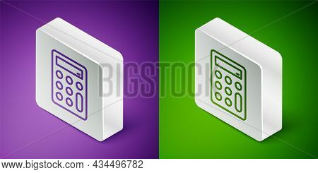 Isometric Line Calculator Icon Isolated On Purple And Green Background. Accounting Symbol. Business