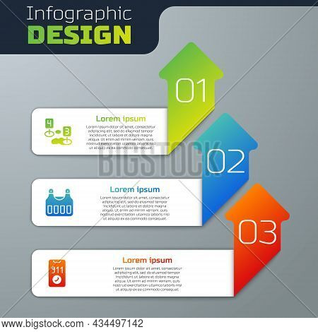 Set Marker Of Crime Scene, Bulletproof Vest And Telephone Call 911. Business Infographic Template. V