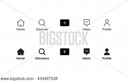 Home, Discover, Add, Inbox, and Profile. Button Icon Inspired By Tiktok. Vector Illustration