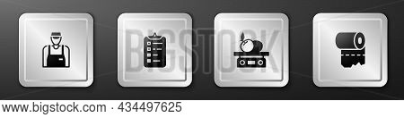Set Seller, Shopping List, Electronic Scales For Product And Toilet Paper Roll Icon. Silver Square B