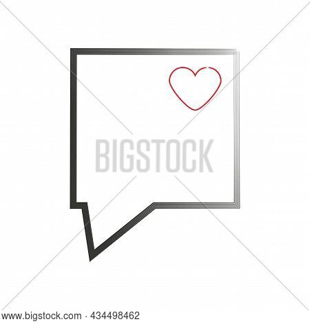 Rectangle Art Speech Dialogue. Red Heart Icon. Communication Background. Message Sign. Vector Illust