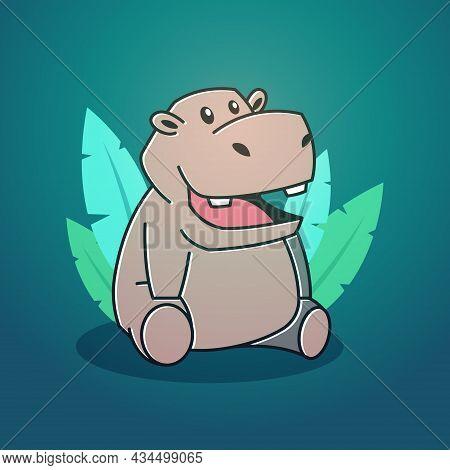 Cute Happy Big Hippo Hippopotamus Sitting Leaves Mascot Character Cartoon