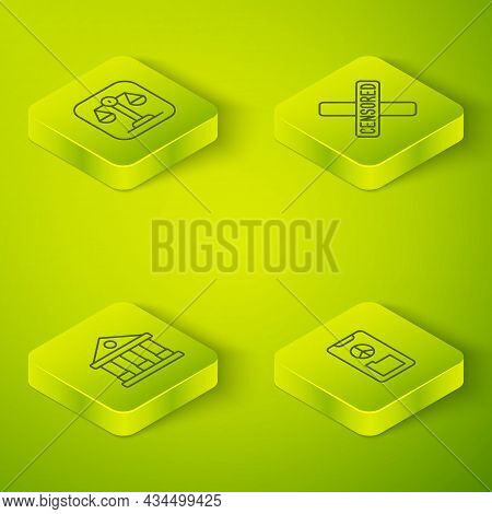 Set Isometric Line Censored Stamp, Courthouse Building, Peace And Scales Of Justice Icon. Vector