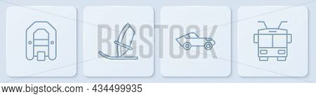 Set Line Rafting Boat, Car, Windsurfing And Trolleybus. White Square Button. Vector