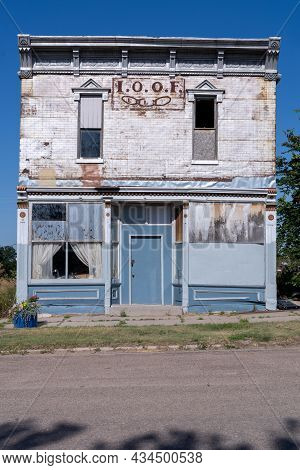 Norcatur, Kansas - July 28, 2021: Independent Order Of Odd Fellows (ioof) Building In The Summer Sun