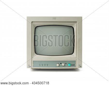 A Small Retro Gray Monitor Isolated On A White Background. Retro Equipment.