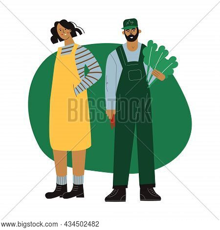 Farmers Couple Man And Woman Stands Together With Organic Fresh Green Vegetables. Farm Character Gar