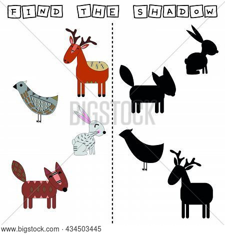 Developing Activity For Children, Find A Pair Among Identical Of  Anilmals Funny Deer, Rabbits, Fox,