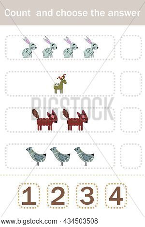 How Many Counting Game With Funny Forest Animals, Deer, Foxes, Birds, Rabbits. Preschool Worksheet,